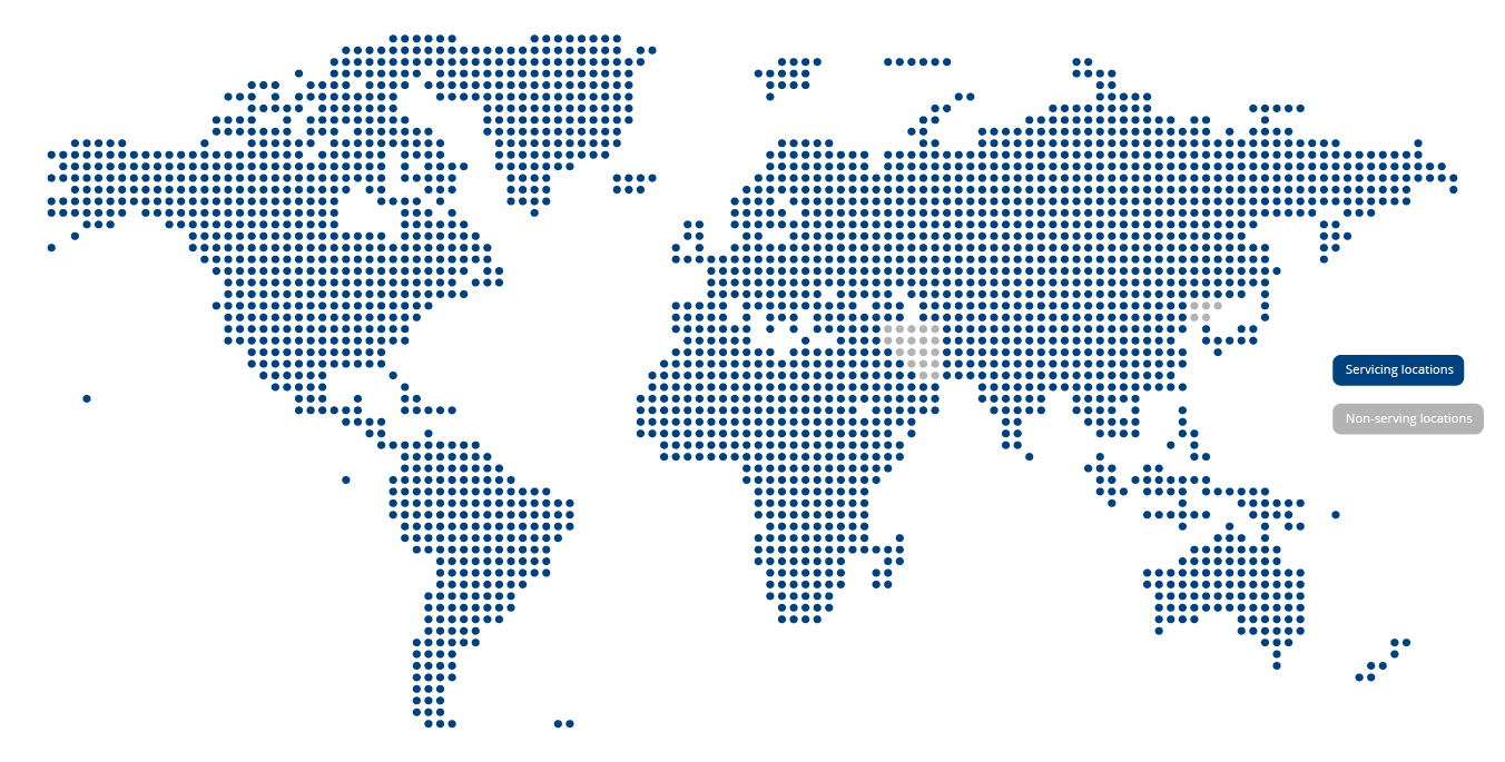 Map of locations that CFR Freight services